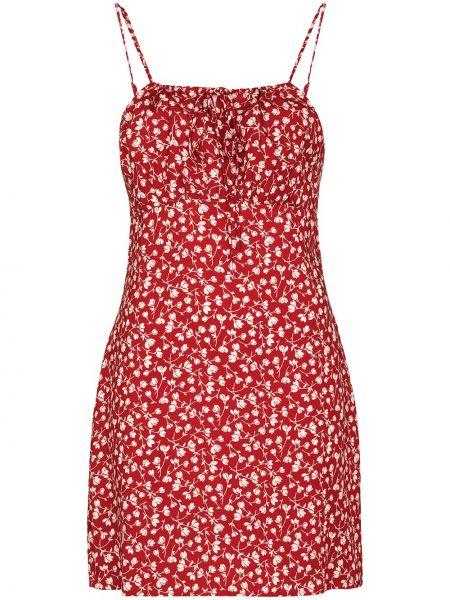 Платье мини в цветочный принт - красное Reformation