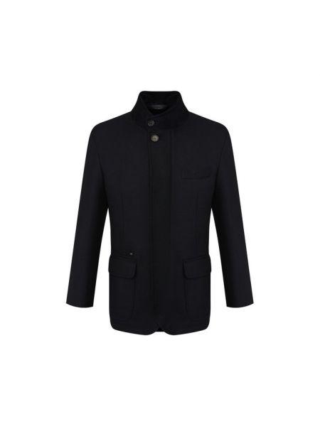 Кожаная синяя облегченная куртка с декоративной отделкой Brioni