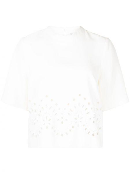 Белая футболка с вышивкой Veronica Beard