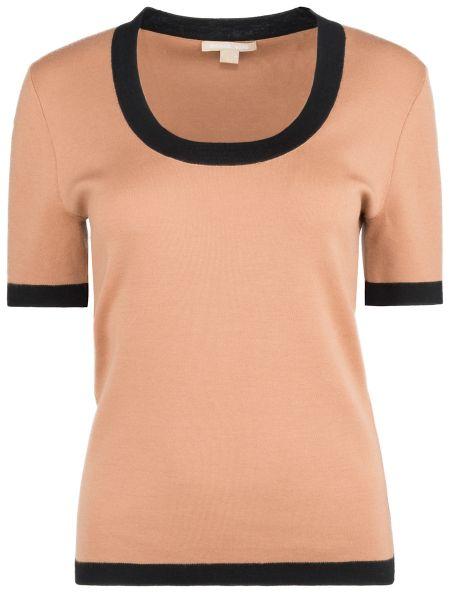 Кашемировая футбольная футболка с декольте с короткими рукавами Michael Kors
