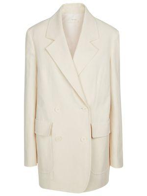 Льняной белый пиджак на кнопках The Row
