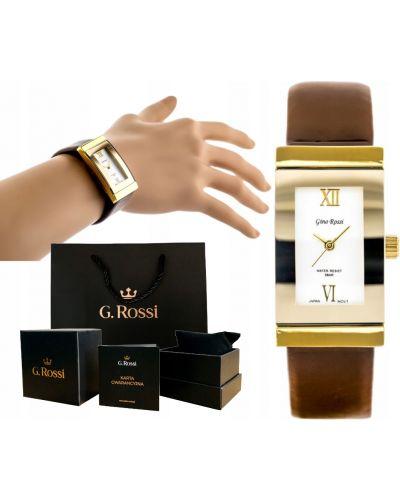 Brązowy klasyczny złoty zegarek na skórzanym pasku Gino Rossi