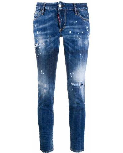 Облегающие кожаные укороченные джинсы с вышивкой Dsquared2