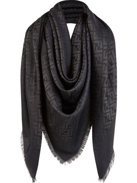 Czarna szal wełniana oversize Fendi