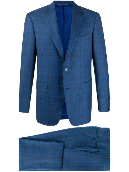 Klasyczny niebieski garnitur wełniany Canali