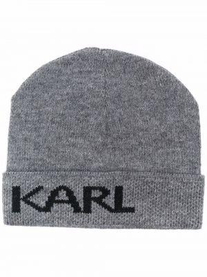 Серая шерстяная шапка Karl Lagerfeld