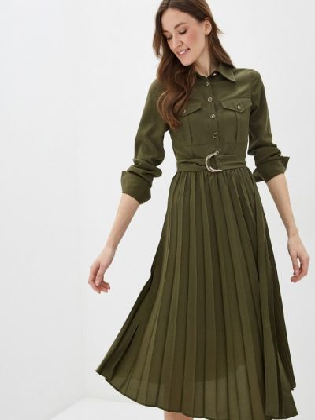 Платье платье-рубашка зеленый Sisley