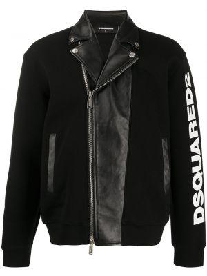Кожаная черная куртка на молнии с карманами Dsquared2