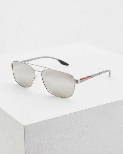 Солнцезащитные очки серебряный итальянский Prada Linea Rossa
