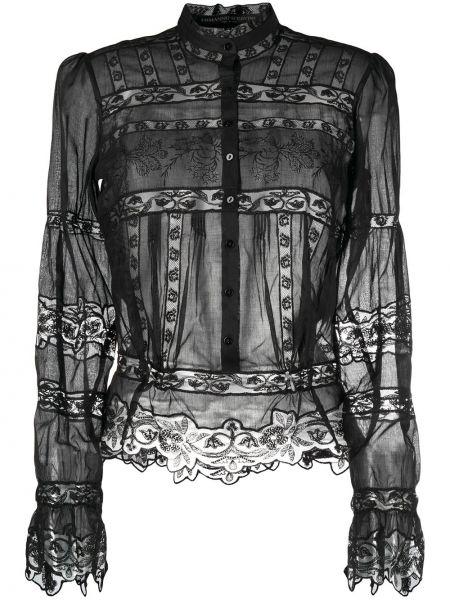 Кружевная черная блузка с воротником Ermanno Scervino