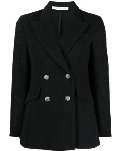 Черный удлиненный пиджак двубортный с карманами Harris Wharf London