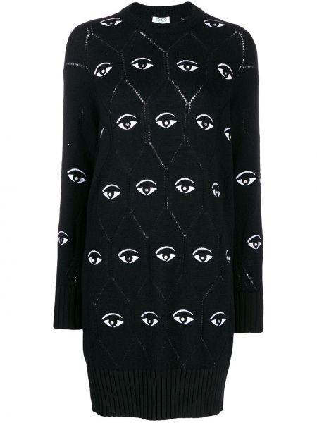 Вязаное платье макси - черное Kenzo
