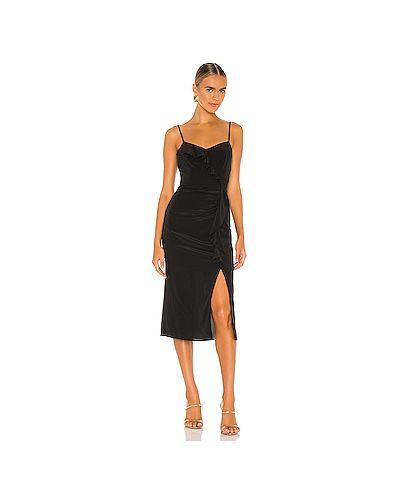 Черное платье на бретелях на молнии с оборками Parker