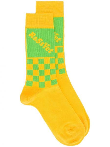 Ватные нейлоновые желтые носки с принтом стрейч Rassvet
