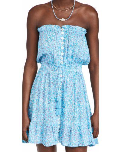Платье мини с декольте в цветочный принт стрейч Tiare Hawaii