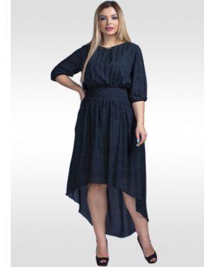 Платье с поясом в горошек шифоновое Lila Classic Style