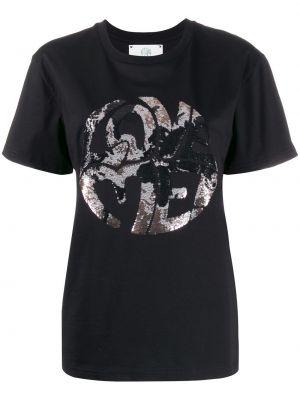 Футбольная черная футболка в рубчик Alberta Ferretti