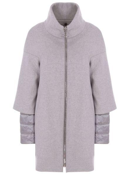 Серое пальто с воротником на молнии со вставками Montecore