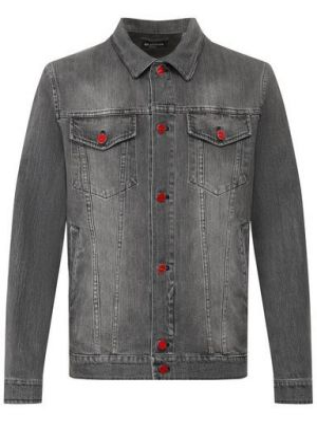 Серая кожаная джинсовая куртка с декоративной отделкой прозрачная Kiton