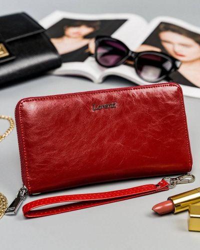 Czerwony portfel skórzany Lorenti