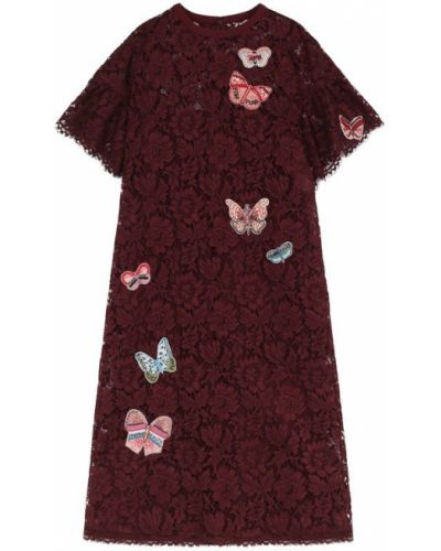 Платье миди бордовый с бисером Valentino