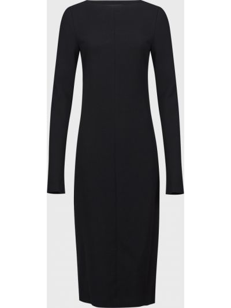 Шерстяное черное платье на молнии Rochas