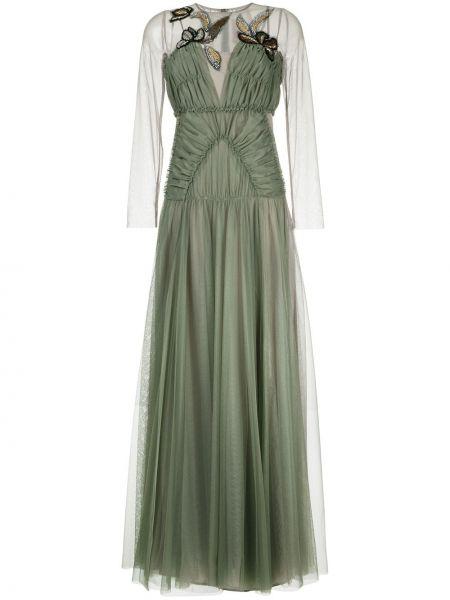 Zielona sukienka tiulowa z haftem Antonio Marras