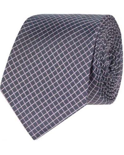 Fioletowy krawat z jedwabiu w kratę Ck Calvin Klein