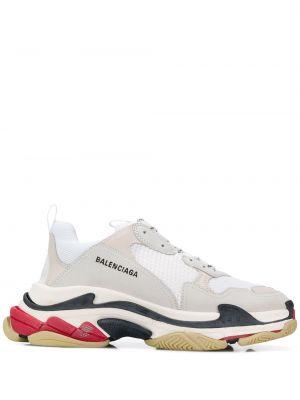 Кожаные белые кроссовки со вставками Balenciaga