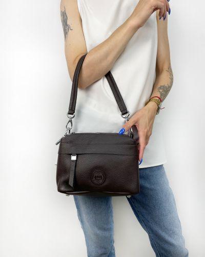 Кожаная сумка через плечо - коричневая Polina & Eiterou