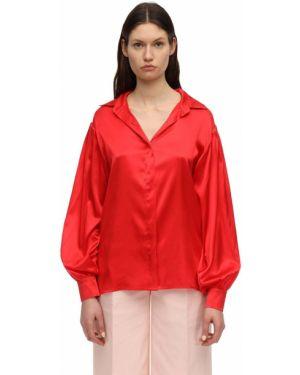 Красная сатиновая классическая рубашка с манжетами с воротником Lesyanebo