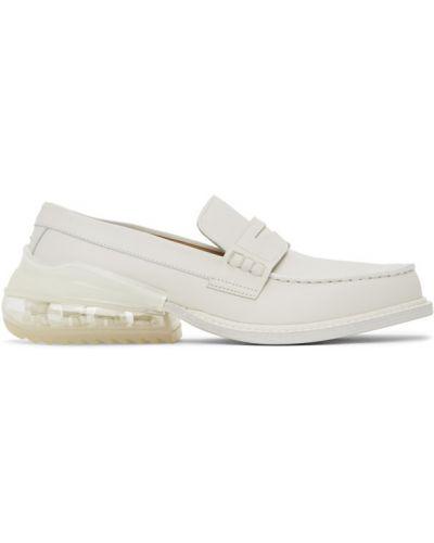 Biały loafers z prawdziwej skóry na pięcie okrągły Maison Margiela