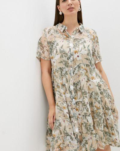 Бежевое платье рубашка Zizzi