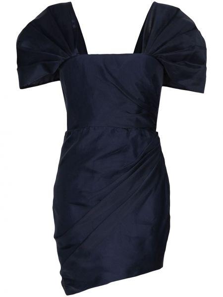 Синее шелковое плиссированное платье мини на молнии Haney