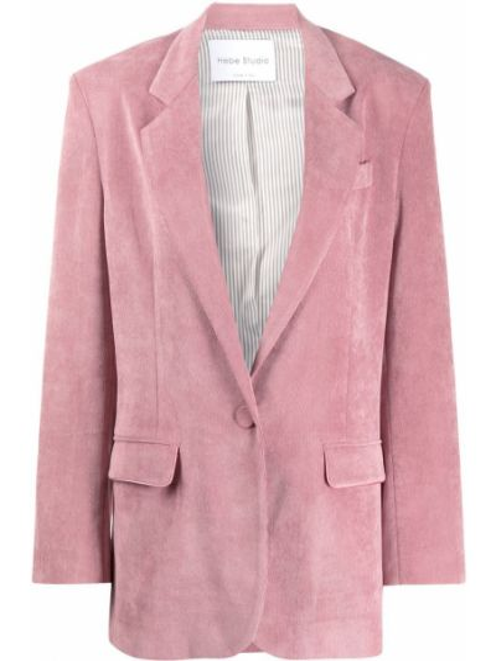 Розовый пиджак с карманами из вискозы с лацканами Hebe Studio