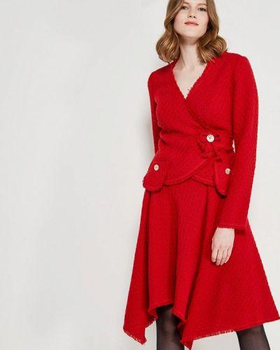 Юбочный костюм красный Ано