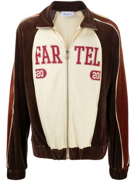 Коричневая куртка с декоративной отделкой на молнии с воротником Telfar