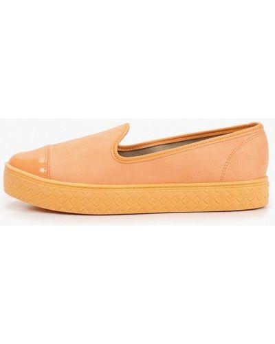 Оранжевые лаковые кожаные слипоны Moleca