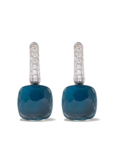 Niebieskie złote kolczyki sztyfty z diamentem Pomellato