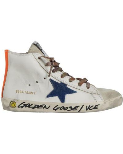 Białe buty sportowe materiałowe Golden Goose