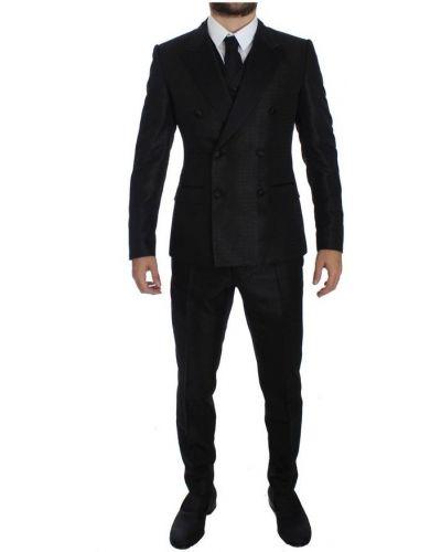 Czarny smoking z paskiem zapinane na guziki Dolce And Gabbana