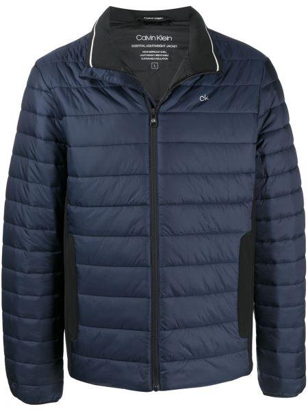 Стеганая синяя стеганая куртка с декоративной отделкой на молнии Calvin Klein
