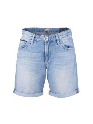 Niebieskie szorty jeansowe bawełniane na co dzień Tommy Hilfiger