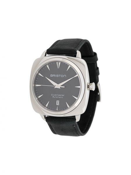 Черные часы с кожаным ремешком круглые Briston Watches