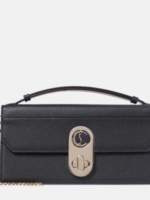 Bawełna skórzany czarny torba kosmetyczna prążkowany Christian Louboutin