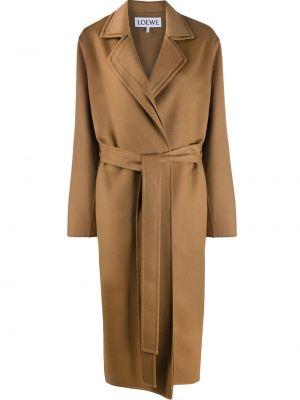 Коричневое кашемировое пальто оверсайз с поясом Loewe