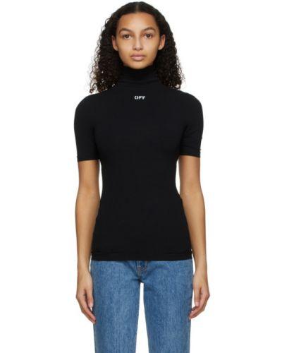 Z rękawami czarny koszula z kołnierzem rozciągać Off-white