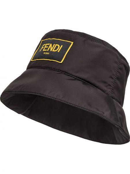 Czarny kapelusz z nylonu Fendi