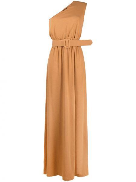 Хлопковое коричневое платье без рукавов Federica Tosi