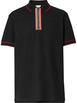 Bawełna czarny koszula z krótkim rękawem z kołnierzem z paskami Burberry